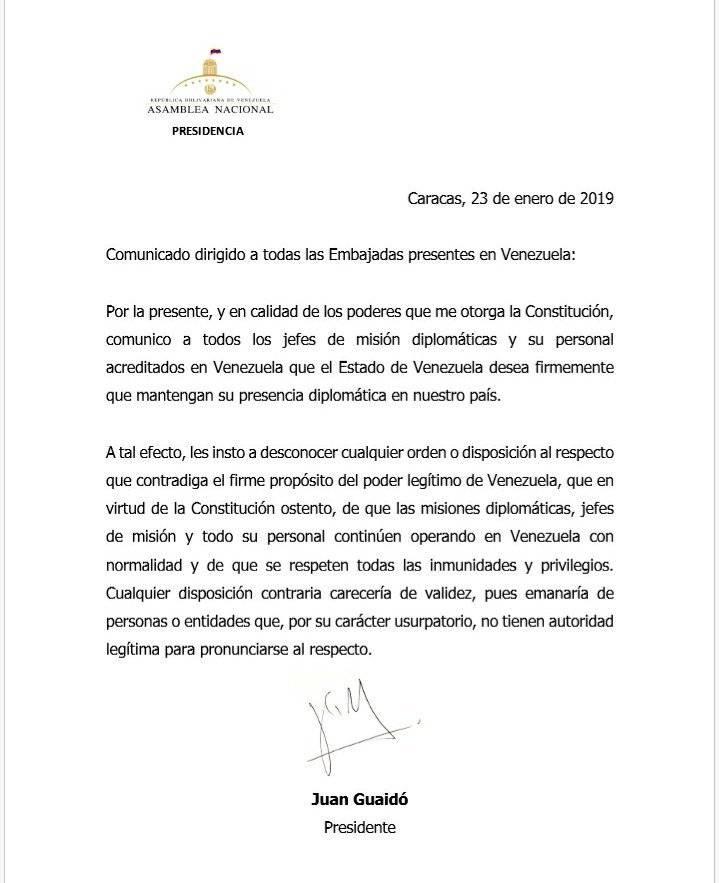 Comunicado de Juan Guaidó