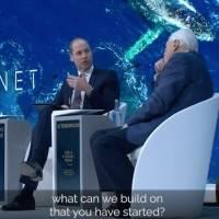 Príncipe William e David Attenborough em Davos