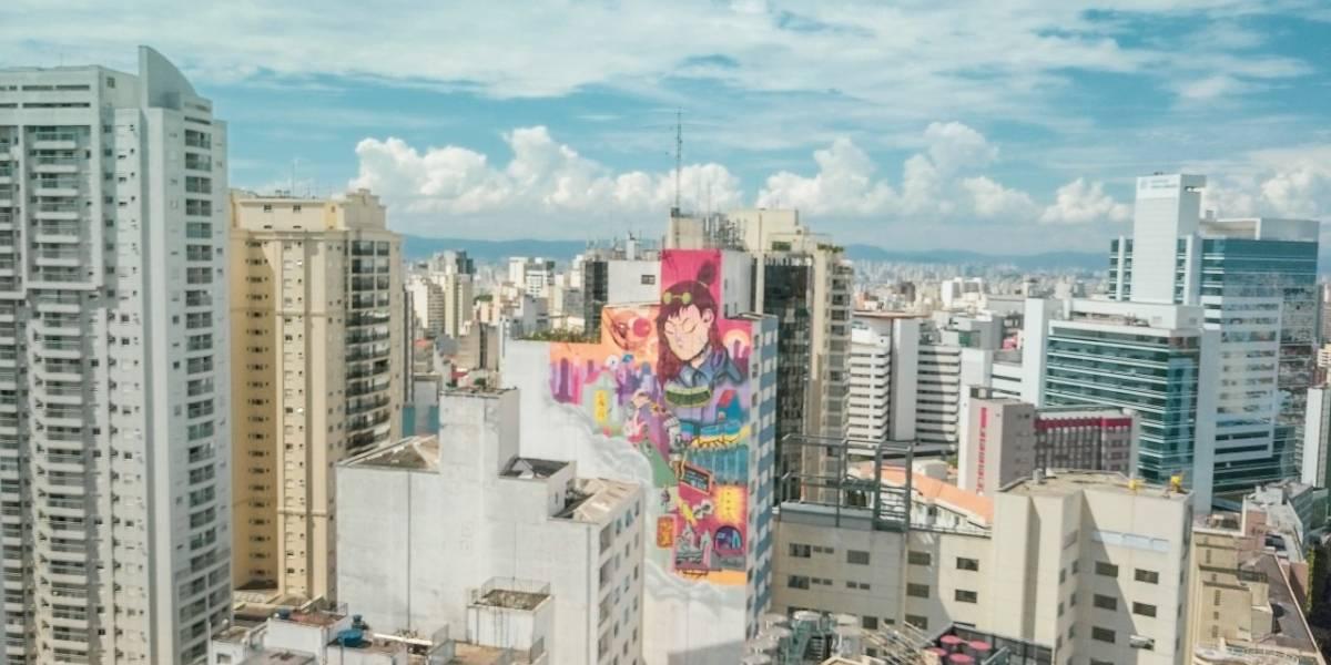 Grafite de 2 mil m² colore o contorno dos prédios na Bela Vista