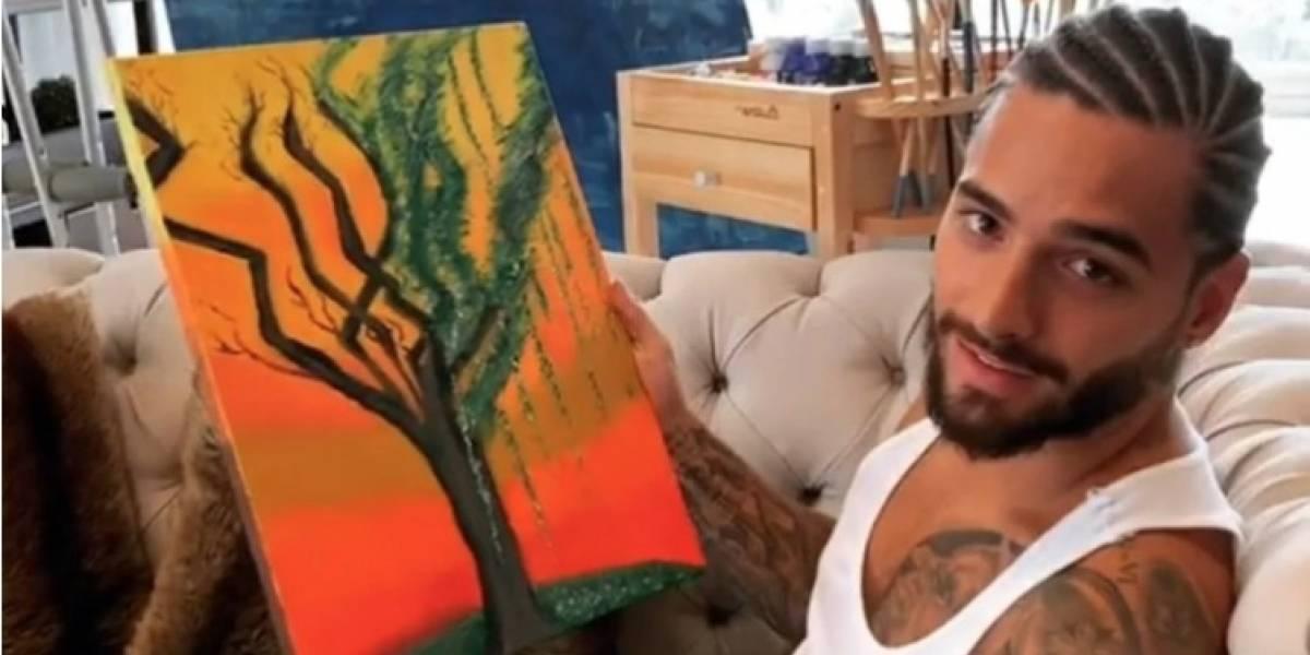 Maluma debutó como pintor y hasta cambió su look