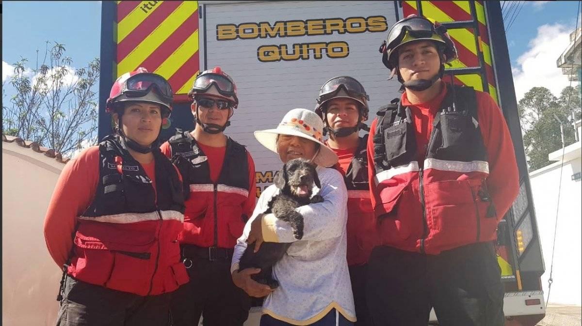 Bomberos rescataron a perrito de quebrada en barrio Vista Hermosa BOMBEROS QUITO