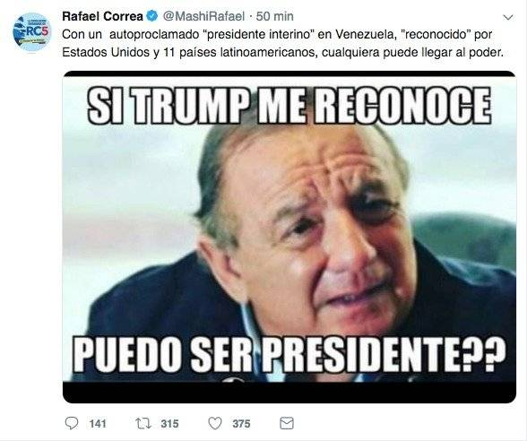 Reacción de Rafael Correa ante situación de Venezuela