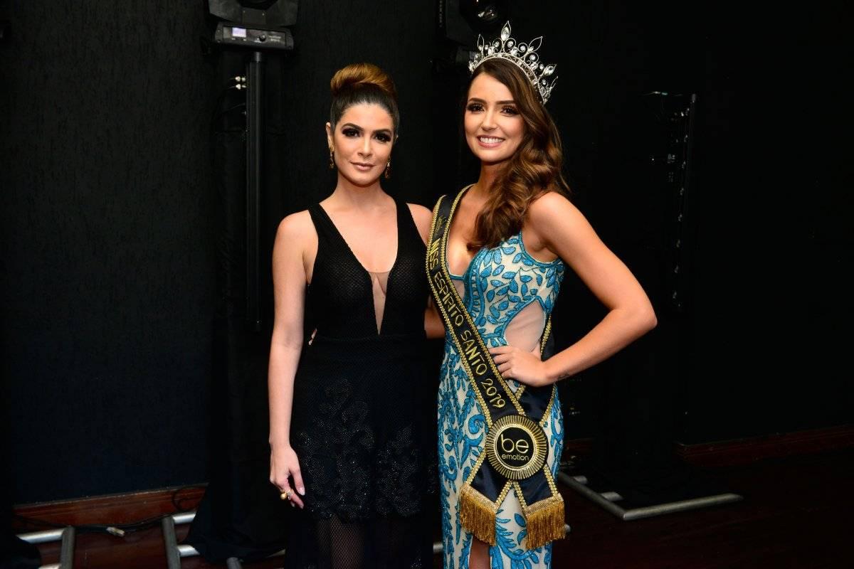 A coordenadora do concurso Nabila Furtado com a Miss 2019, Thainá Castro Fábio Vicentini