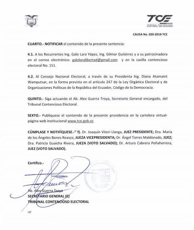 Galo Lara si podrá ser candidato por la prefectura de Los Rios API
