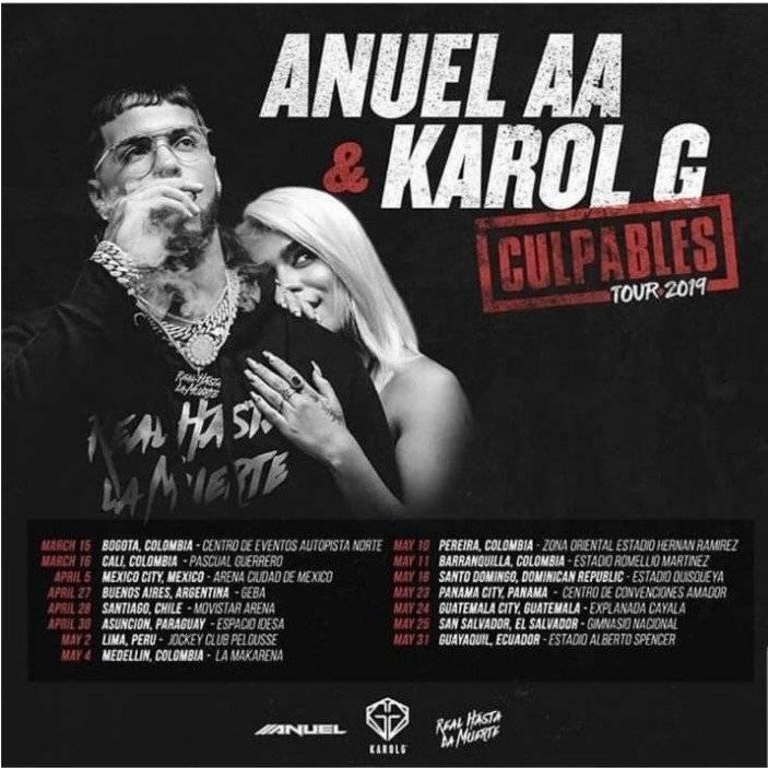 Anuel AA y Karol G incluyen a Ecuador en su gira 2019