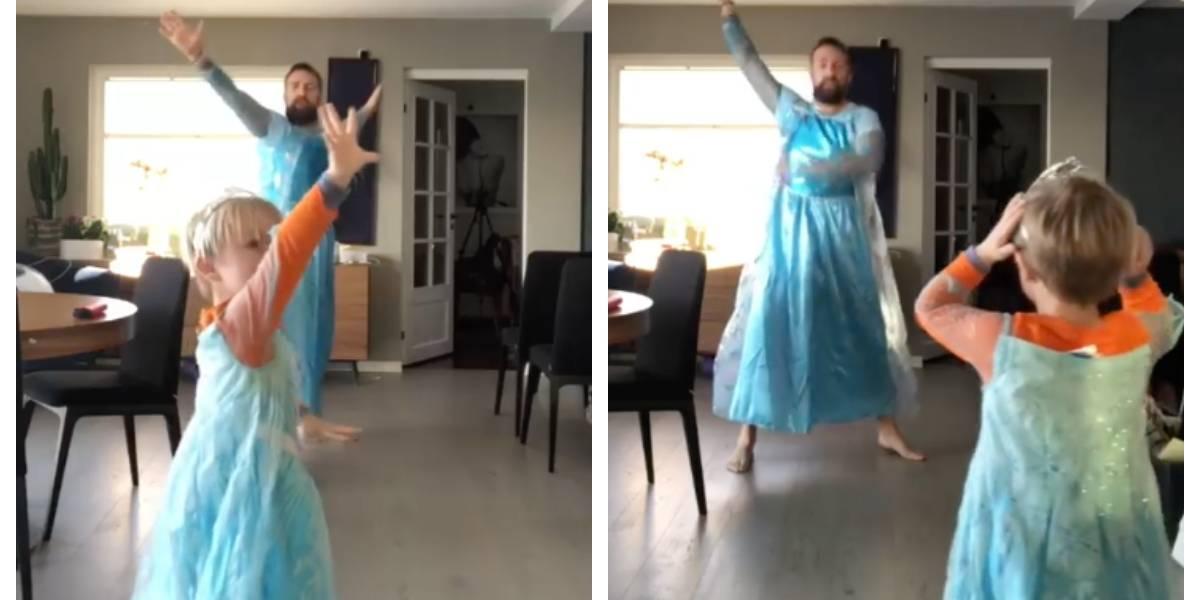 El maravilloso y aplaudido gesto de un padre que compró dos vestidos de Elsa de Frozen para bailar y cantar con su pequeño hijo