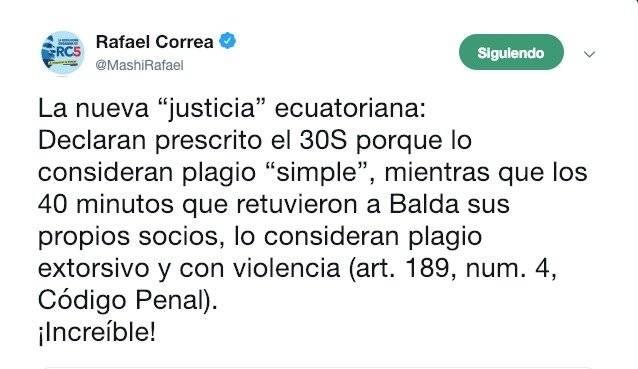 30-S: Rafael Correa reacciona ante declaratoria de prescrito el juicio por plagio contra siete policías