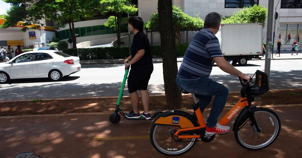 ciclofaixa patinete e bicicleta