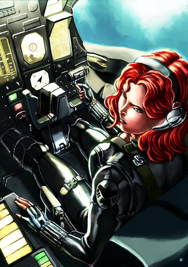 Cric: https://www.deviantart.com/cric/art/Black-Widow-at-the-cockpit-410029704