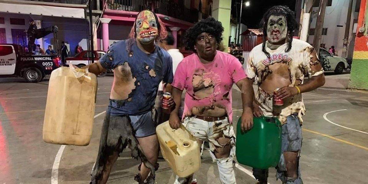 Disfraz de 'huachicoleros quemados' en carnaval causa controversia en redes