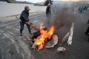 Protesta indígena en Panzaleo, Cotopaxi