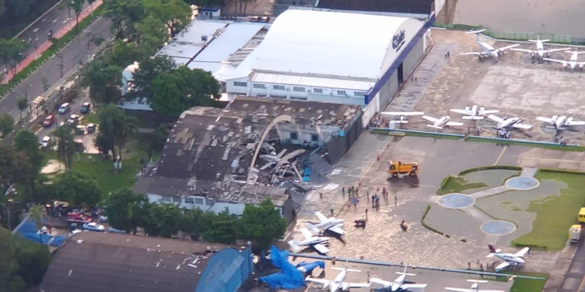 Teto de hangar do aeroporto Campo de Marte desaba após forte temporal em SP