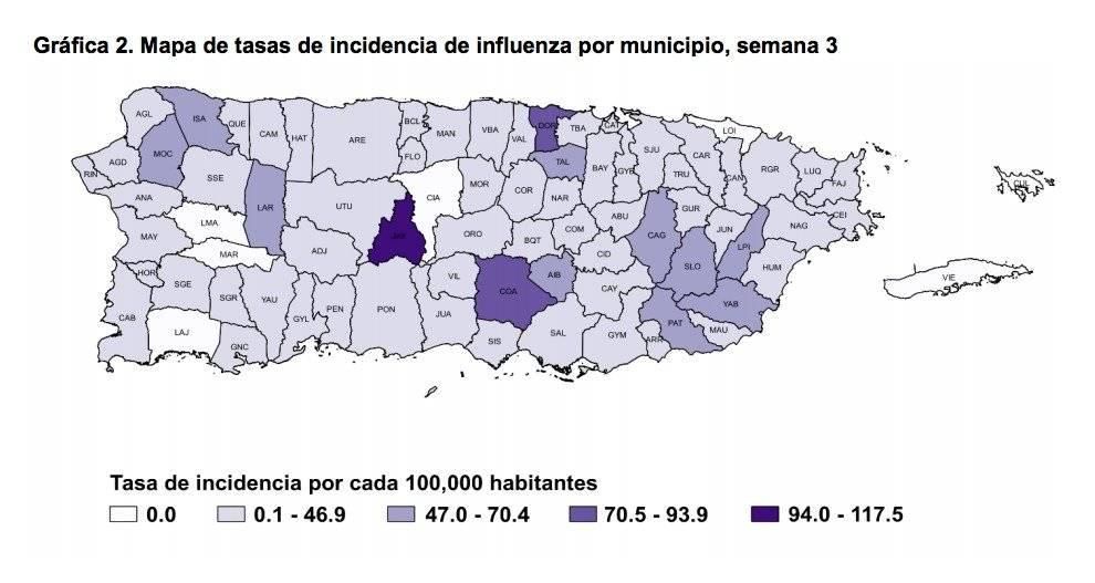 Captura de pantalla / Informe de vigilancia de influenza de Puerto Rico