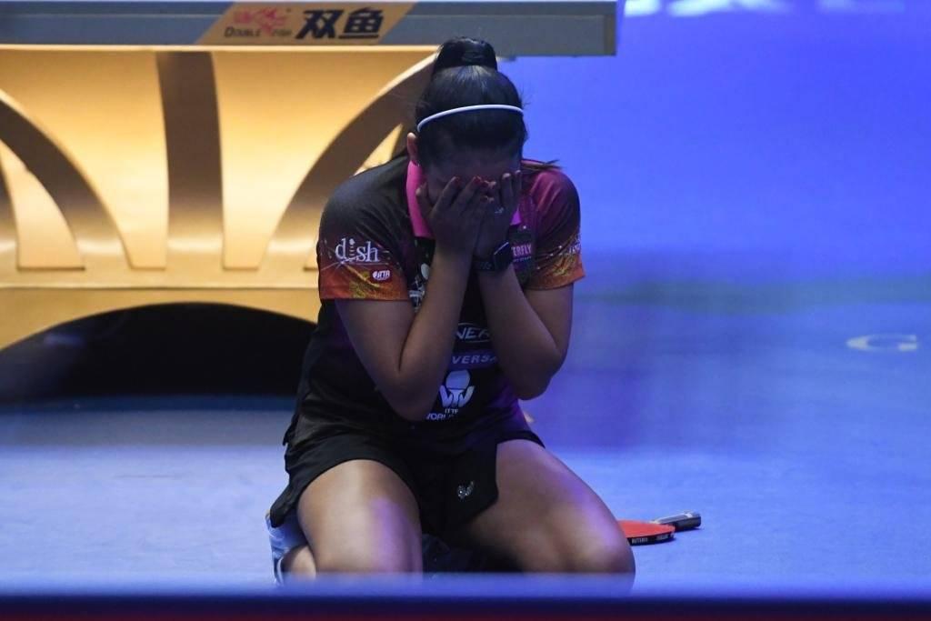 Foto: Adriana Díaz rompe a llorar tras vencer a Mo Zhang para coronarse campeona de la Copa ITTF Panamericana 2019 Dennis A. Jones/Metro PR
