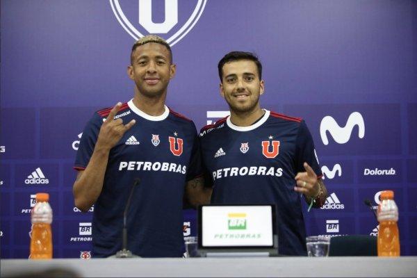 Gabriel Torres y Matías Campos Toro son presentados oficialmente en el CDA como nuevos refuerzos de Universidad de Chile. / Twitter oficial U. de Chile