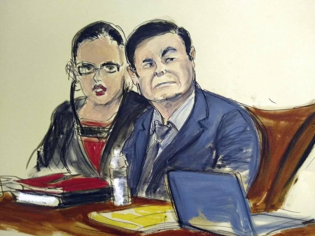 """Dibujo de la corte sobre el juicio a Joaquín """"El Chapo"""" Guzmán Foto: AP"""