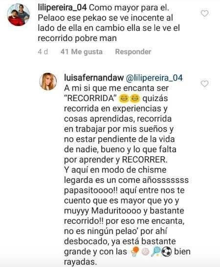 La respuesta de Luisa Fernanda W a una seguidora