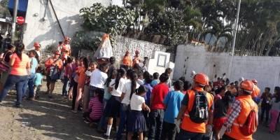 Realizan simulacro por erupción en comunidades cercanas al volcán de Fuego