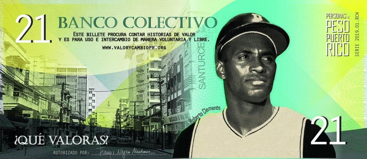 Billete que destaca la figura del pelotero puertorriqueño Roberto Clemente / Suministrada