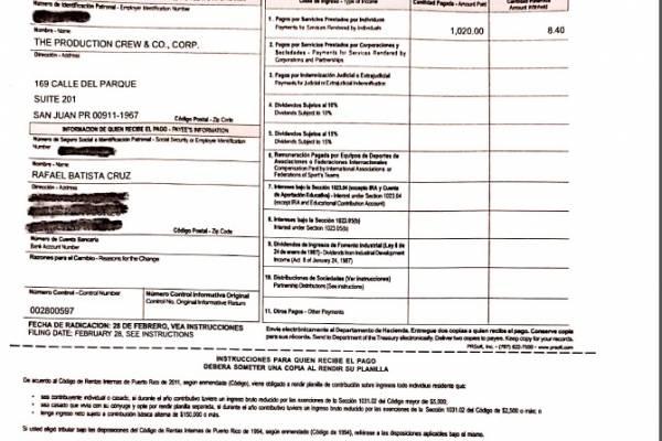 Documento de retención de ingresos de Rafael Batista.