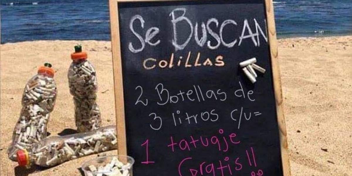 Curiosa campaña: reciben colillas de cigarros y te regalan un tatuaje en Pucón