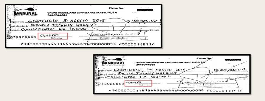 Segundo grupo de cheques emitidos por empresa Grupo Inmobiliadio Empresarial San Felipe