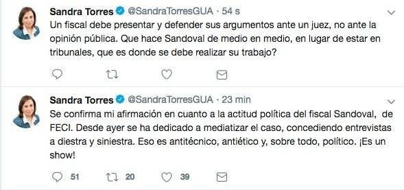 tuits de Sandra Torres contra el fiscal Juan Francisco Sandoval