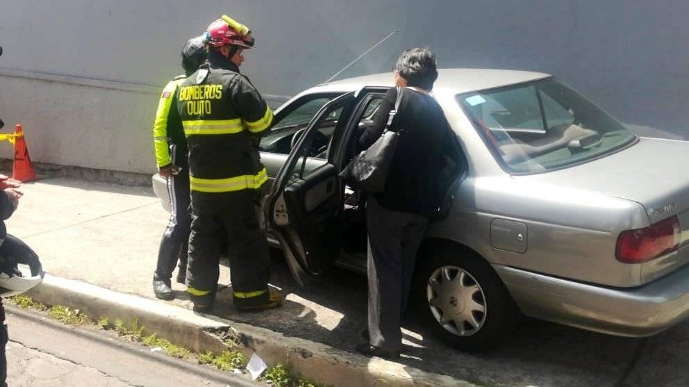 Accidente en la avenida Mariana de Jesús y 10 de Agosto