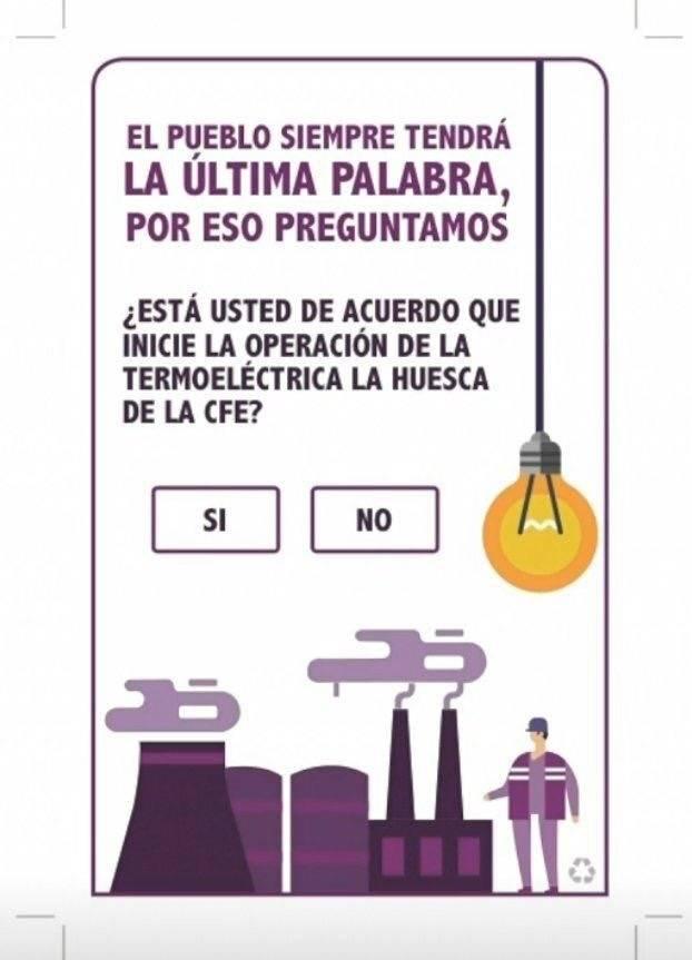 Boleta de la Consulta para termoeléctrica en Morelos