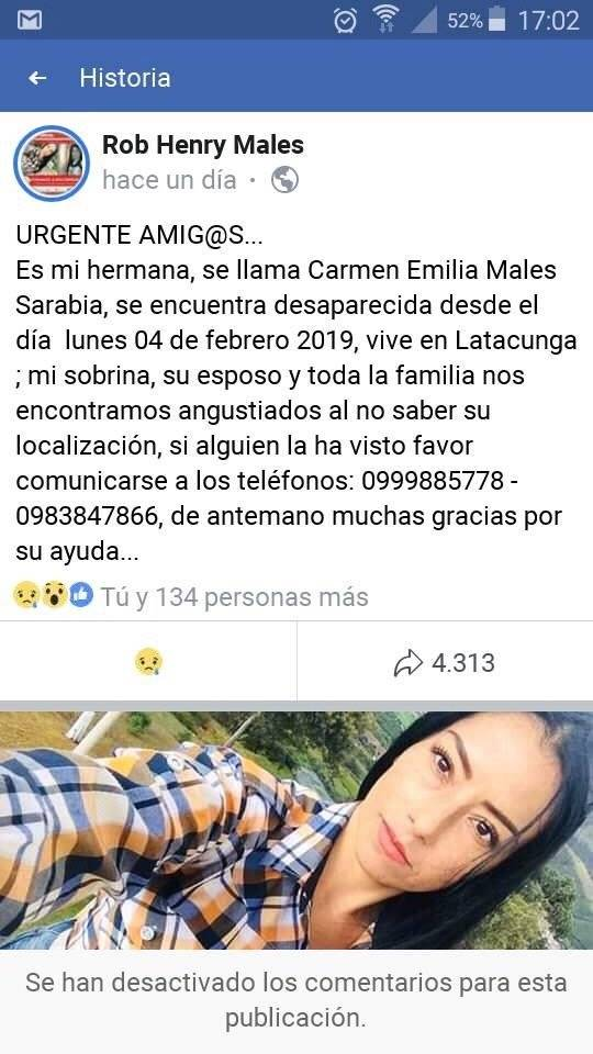 Familiares buscan a Carmen Emilia Males desaparecida desde el 4 de febrero