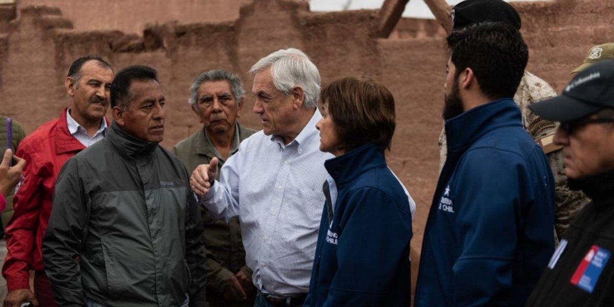 """""""Ya están contemplados los recursos"""": Presidente Piñera comprometió bono a los afectados por las lluvias en el norte"""