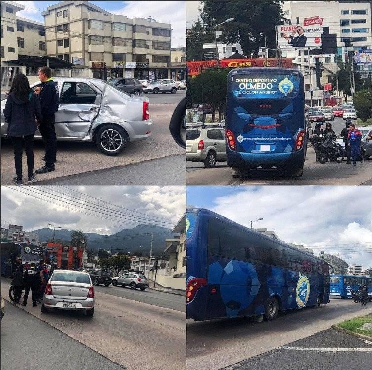 Bus del Olmedo sufre accidente de tránsito