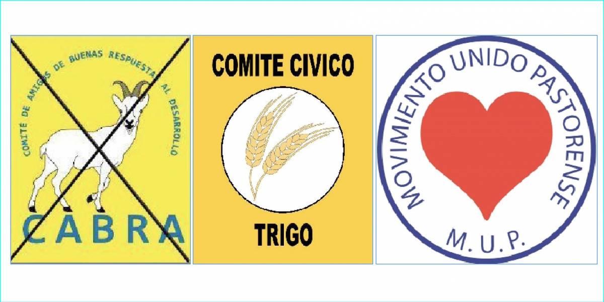 Comités con logos de corazón, trigo y cabra inscriben candidatos