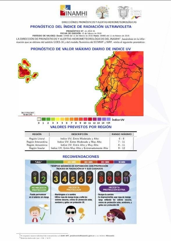 Niveles de radiación en Ecuador 11 de febrero