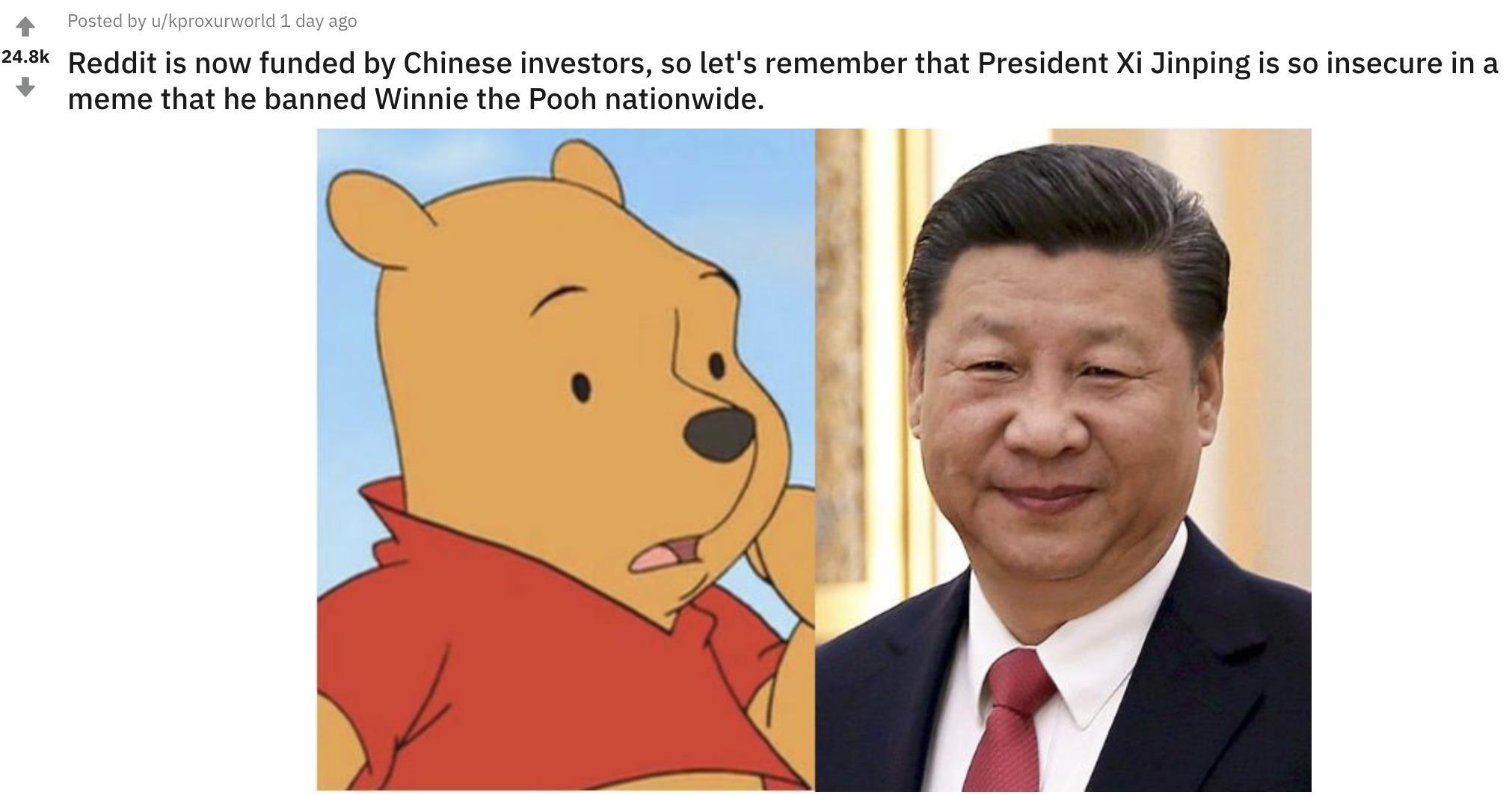 Reddit sufre epidemia de Winnie The Pooh por temor de intervención china