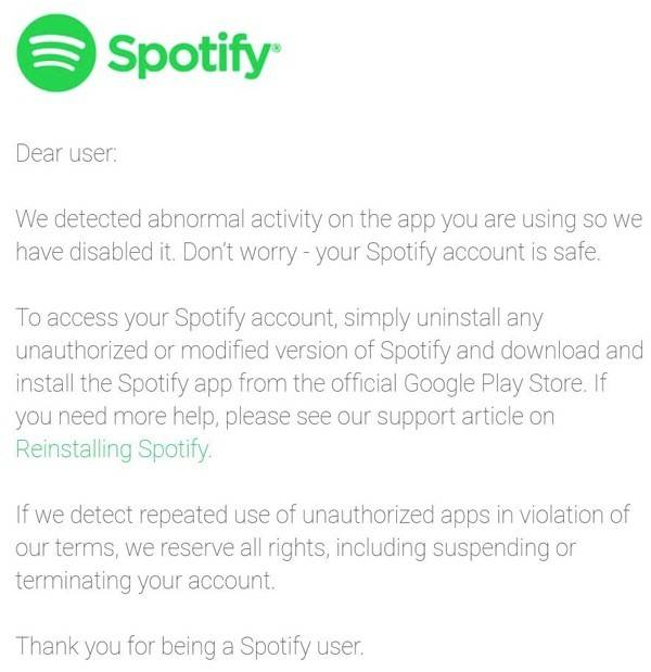 "Spotify was started to prohibit all users who have a "" use advertising barriers"