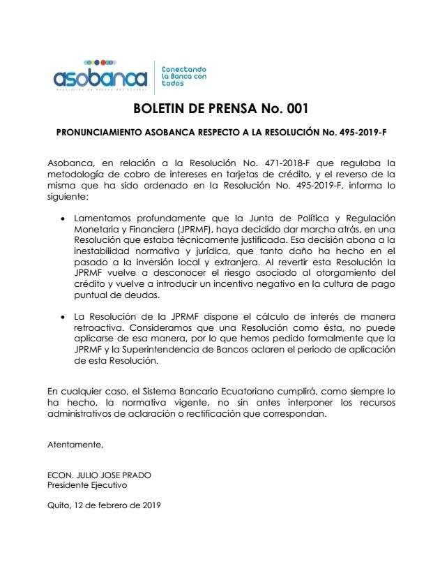 Boletín de prensa ASOBANCA