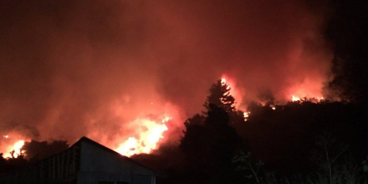 Las impresionantes imágenes del avance de las llamas de incendios simultáneos que mantienen en alerta a la región del Biobío