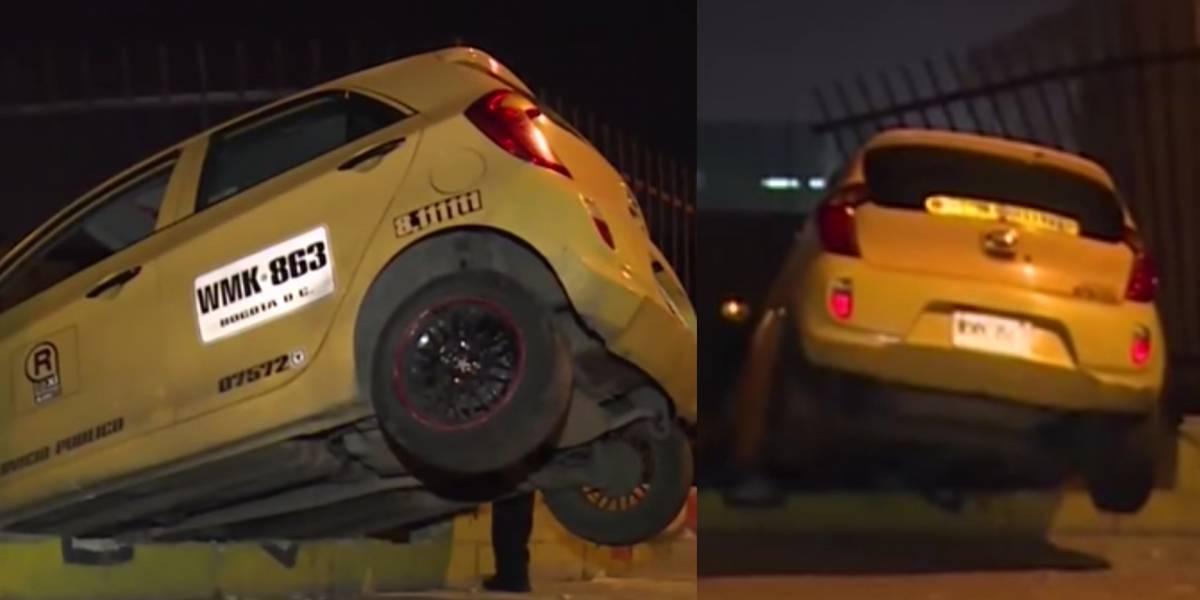 ¡De no creer! Taxi terminó suspendido dentro de una construcción