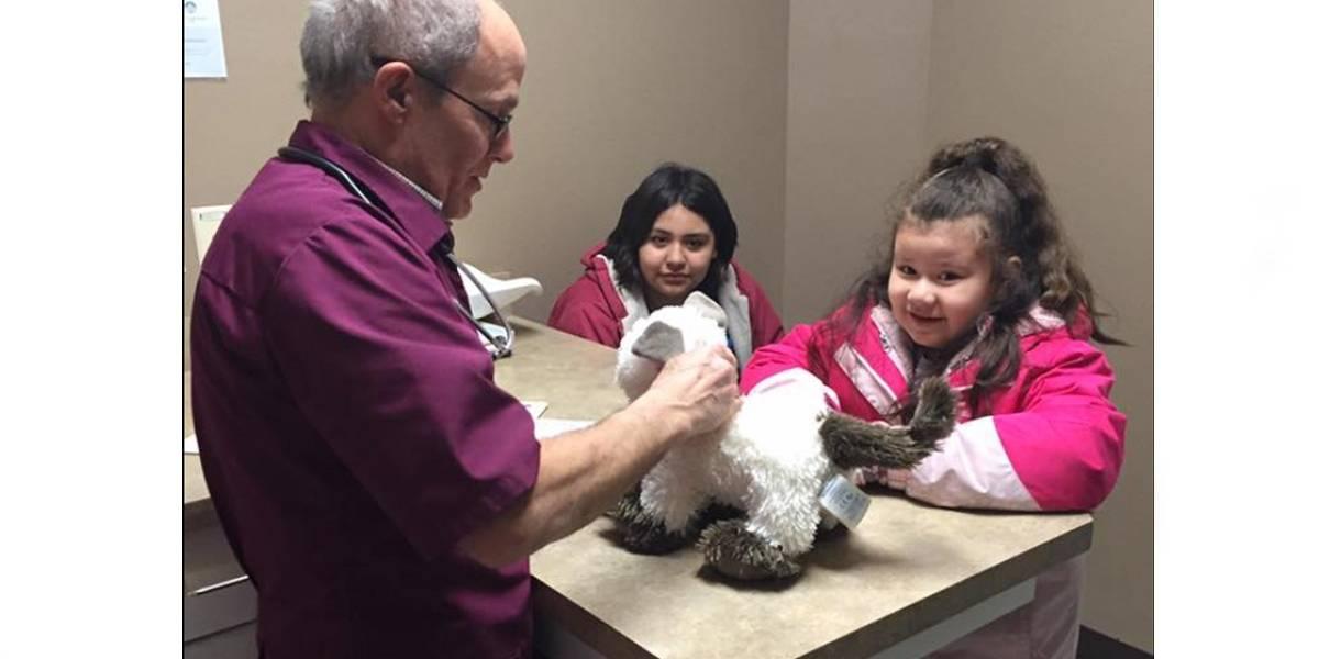 Menina autista leva gato de pelúcia doente para veterinário e ele receita 'amor e carinho'