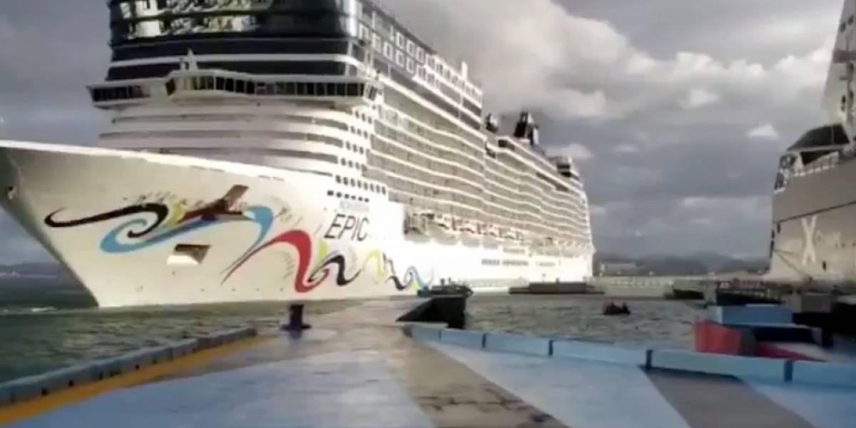Crucero choca a su entrada al muelle de San Juan