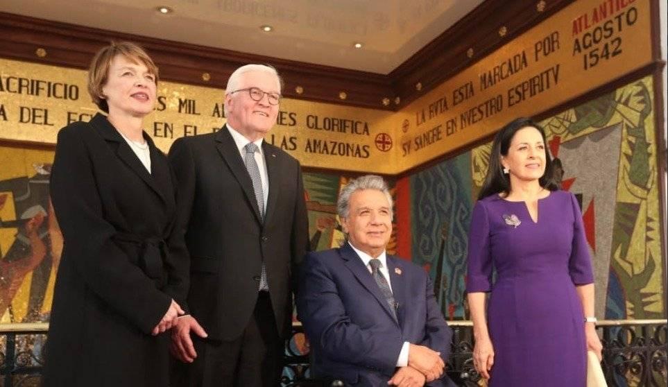 Lenín Moreno, junto a Rocío De Moreno reciben al presidente de la República Federal de Alemania, Frank-Walter Steinmeier y a su esposa, en el Palacio de Gobierno.
