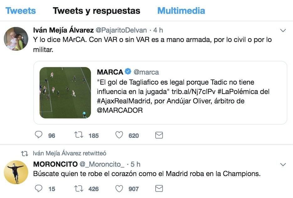 @PajaritoDeIvan sobre VAR del partido Ajax VS Real Madrid de Champions League