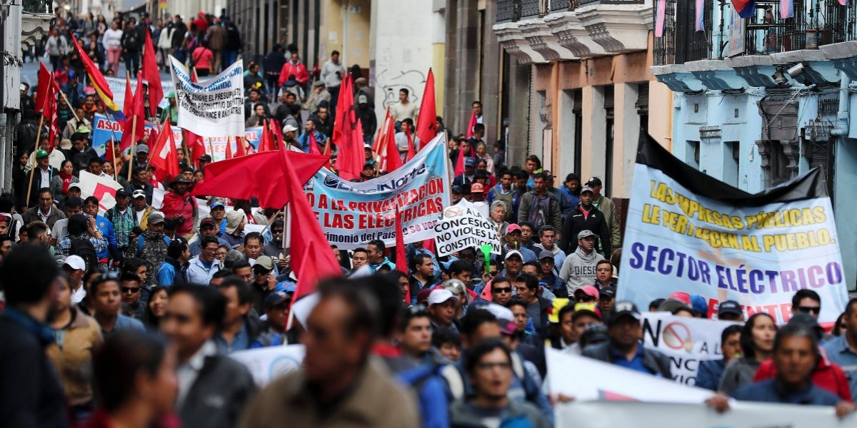 Sindicatos y campesinos de Ecuador marcharon contra privatizaciones y despidos