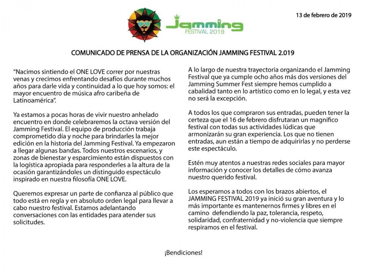 Comunicado Jamming Festival
