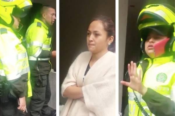 policías de Bogotá multan a una mujer por preguntar por una empanada