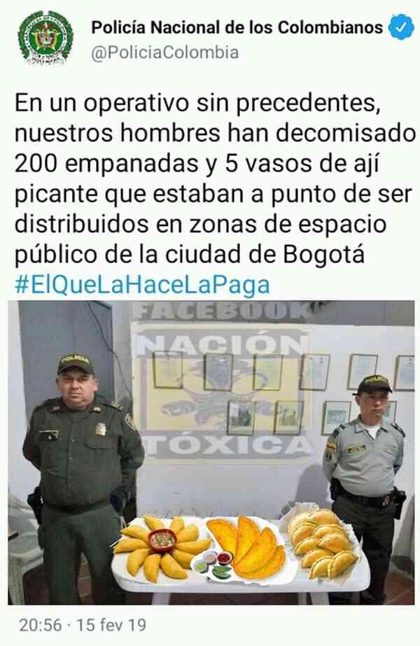 Un joven colombiano fue multado por comprar una empanada en la calle y las redes sociales estallan en indignación y memes