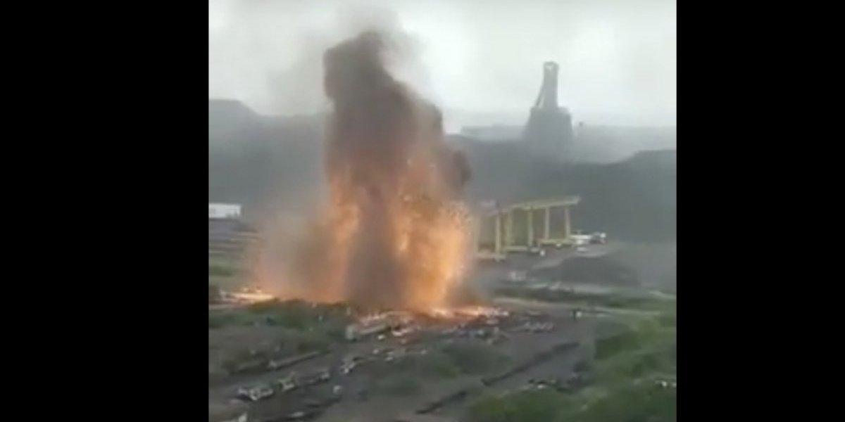 Captan explosión en acerera de Lázaro Cárdenas, Michoacán