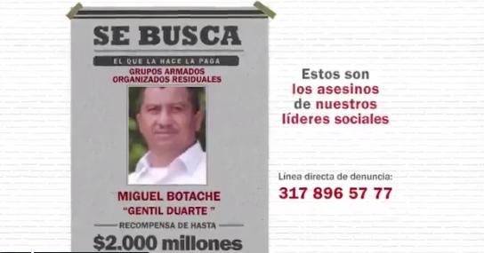 El comercial para capturar a responsables del asesinato de líderes sociales que genera polémica en redes