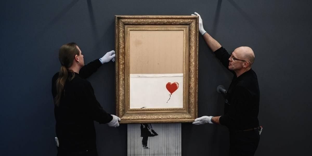 Pintura autodestruida de Banksy está en exhibición